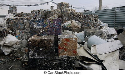 Scrap Steel Prepared For Smelting. Metal Scrapyard Recycling