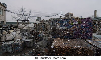 Piles of Scrap Steel Prepared For Smelting - Scrap Steel...