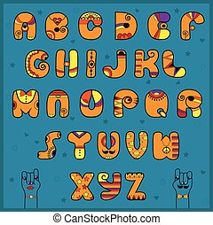 Alphabet with Indian style. Funny orange font - Unusual...