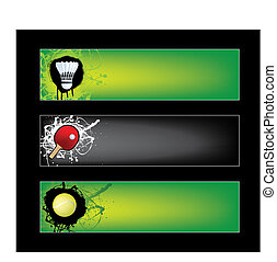 illustration set of sports banners on black and green...