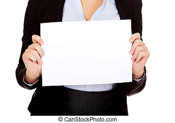 Business woman holding empty banner