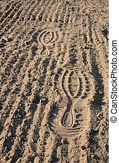 Footprints on soil - Footprints on loosened soil