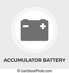 Accumulator Battery Flat Icon - Accumulator Battery Icon...