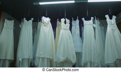 Bridal shop, Boutique Wedding Dress Store. White Dresses in...