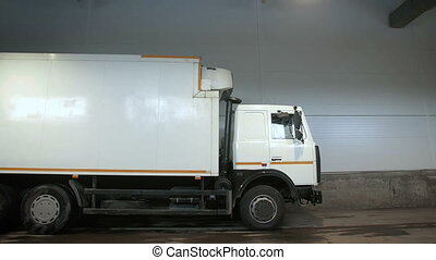 Truck Leaves From The Warehouse. Transportation Business