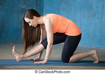 Gastrocnemius Calf Stretch - Beautiful young woman dressed...