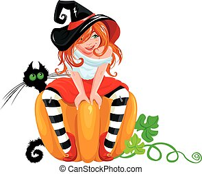 Illustration for Halloween with a cute witch sitting on big pumpkin and black cat, isolated on white background.
