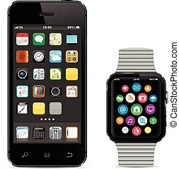 Black smartphone with smart watch