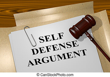 Self Defense Argument concept - 3D illustration of SELF...