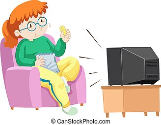 Fat woman eating chips while watching TV illustration
