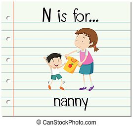Flashcard letter N is for nanny