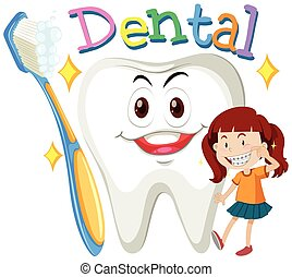 Girl with clean teeth