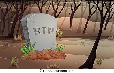 Scene of graveyard at night  illustration