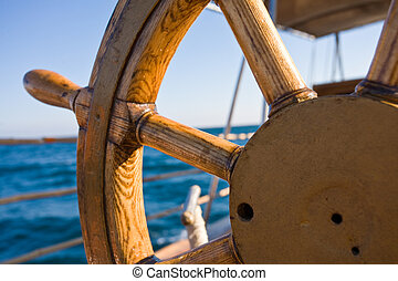 yacht, voyage, direction, roue