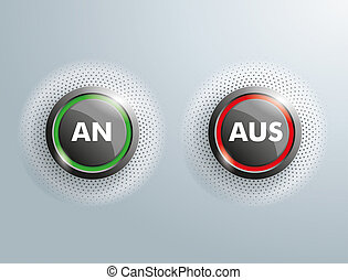 "2 Buttons Business An Aus Halftone - German text ""An Aus"",..."