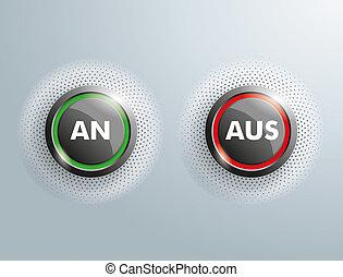 """2 Buttons Business An Aus Halftone - German text """"An Aus"""",..."""