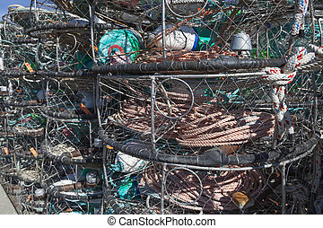 Lobster trap on Pacific shore