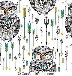 Tribal boho style owl seamless pattern - Tribal boho style...