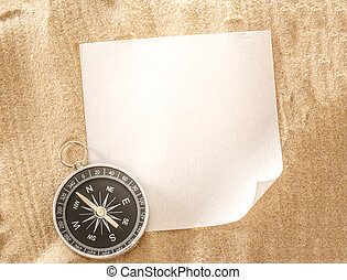 Blank sheet of paper with compass