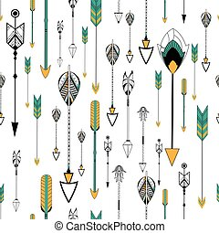 Arrow and feather for Tribal boho style seamless pattern in...