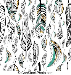 Tribal boho style feather seamless pattern - Tribal boho...