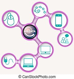 Vector purple frames for your text and big data symbol