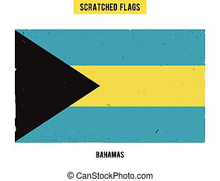 Bahamian grunge flag with little scratches on surface A hand...