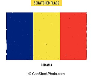 Romanian grunge flag with little scratches on surface A hand...