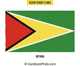 Guyanese grunge flag with little scratches on surface A hand...