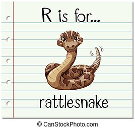 Flashcard letter R is for rattlesnake illustration