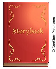 Storybook with red covers illustration