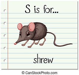 Flashcard letter S is for shrew illustration