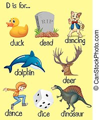 Words begin with letter D illustration