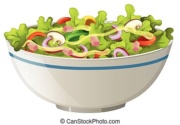Bowl of green salad illustration