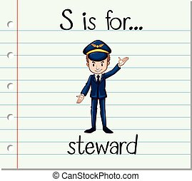 Flashcard letter S is for steward illustration