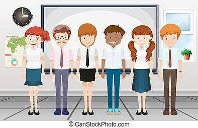 Man and woman standing in classroom illustration
