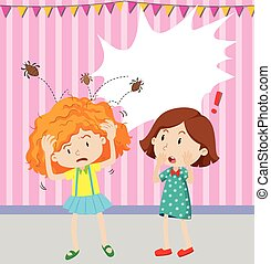Girl having head lice illustration