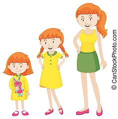 Girl growing up to woman illustration