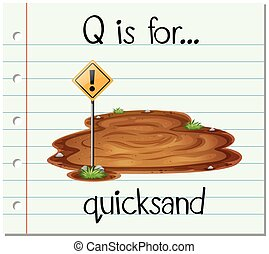 Flashcard letter Q is for quicksand illustration
