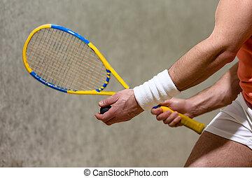 Squash racket closeup - Half closeup picture of squash...
