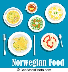 Healthy breakfast of norwegian cuisine flat icon - Wholesome...