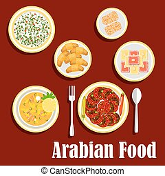 Middle eastern lunch with desserts flat icon - Traditional...