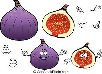Honey sweet fig fruit cartoon characters - Whole and half of...
