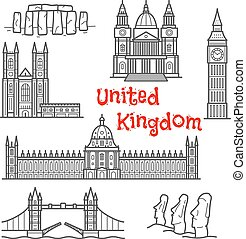 British and chilean travel landmarks sketches - British and...