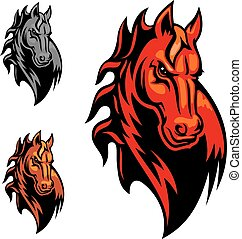 Wild red mustang or stallion