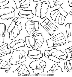 Vintage seamless chef hats pattern - Vintage chef toques...