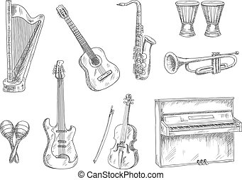 Musical instruments sketch icons for art design - Classic...