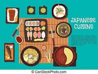 Japanese cuisine seafood dishes with hot pot icon - Omakase...