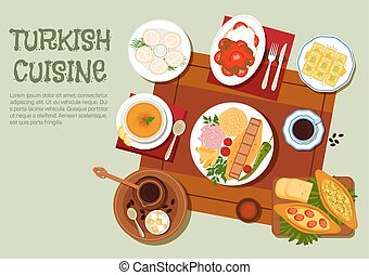Turkish kebab, coffee and pastries flat icon - National...