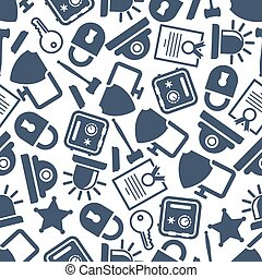 Security and protection seamless pattern with gray symbols...